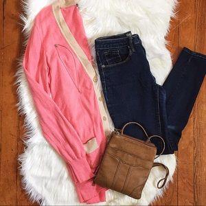 J.Crew Pink and Cream Cardigan Size Medium